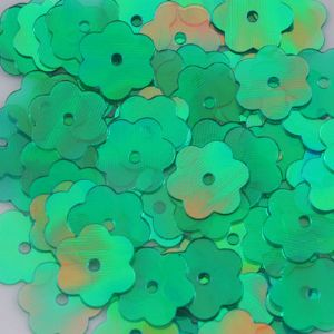 Sequins, green, Diameter 10mm, 75 pieces, 10g, Flower shape, Sequins are shiny, [CZP069]